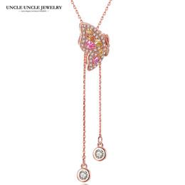 Langkettiger schmetterling online-Elegante Rose Gold Farbe Multicolor Zirkonia Crystal Butterfly Style Fashion Frau lange Anhänger Halskette Pullover Kette einstellbar