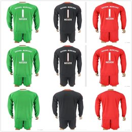 Wholesale Long Sleeves Football Jersey - 2017 18 Long Sleeve NEUER Goalkeeper Jersey Kit Soccer Sets #1 Manuel Neuer Starke Ulreich Fruchtl Goalie Football Kits Full Uniform Adults