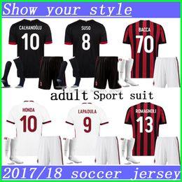 Wholesale Black Ac - AC MILAN men kits Soccer Jerseys 17 18 High quality Soccer jersey BONAVENTURA SUSO ANDRE SILVA CALHANOGLU BONUCCI ABATE BACCA football shirt