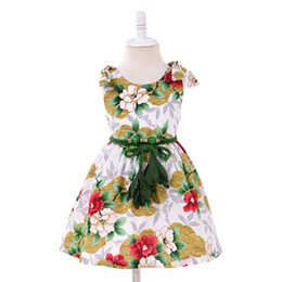 1247b42c76de Girl Flower dress with belt Vintage Print Bow knot dresses Fly Sleeve Party dress  Children Spring Summer gift Dress for 1-7T