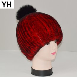 coelho de raposa de pele real Desconto Novas Mulheres Russas Natural Rex  Rabbit Fur Hat Inverno 7f8560fd2a8