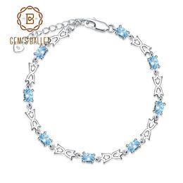 Braccialetto d'argento della pietra preziosa online-GEM'S BALLET Casual Natural Blue Topaz 925 Sterling Silver Gemstone Bracciali Bangles Donna Fine Jewelry 4.8Ct