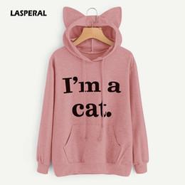 Wholesale Cat Top Hat - LASPERAL 2017 Women Casual Hoodies Sweatshirt Long Sleeve Hoody Cat Ears I AM A CAT Printed Hoodies Tracksuit Jumper Outwear Top