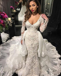 Wholesale wedding dresses detachable cathedral train - Mermaid Long Sleeve Wedding Dresses With Detachable Train 2018 Modest V-neck Cathedral Train Fishtail Lace Beaded Civil Bridal Wedding Gown