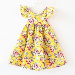 9072fd2a66cf 5 COLORS DRESS girls clothing pink floral girls beach dress cute baby summer  backless halter dress kids vintage flower dresses