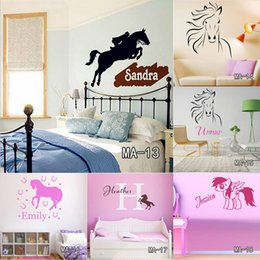 Wholesale Wall Decals Horses - Custom DIY Personalized Name Jumping Horse Wall Sticker Riding Animal Vinyl Wall Art Nursery Decals Home Decor for Kids Room