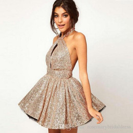 6cfa1d27ef Golden A Line Cocktail Dresses Sequined Halter Short Club Party Gowns Sexy  Backless Dancing Gowns Cheap Formal Homecoming Dresses