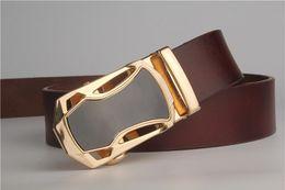 Wholesale Men Casual Belts Best Brands - Best quality designer brand name fashion Men's Business Waist Belts Automatic buckle Genuine Leather belts For Men 105-125cm