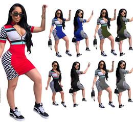 2019 наполовину стоять Женщины лето разноцветные мини-платье стенд воротник половина молния печати модные сексуальные клуб юбка для девушки ночной клуб эластичные Bodycon платья ML93 дешево наполовину стоять