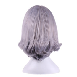 Wholesale Gray Short Cosplay Wigs - wigs with bangs WoodFestival ombre grey short bob straight hair gray wig cosplay women synthetic wigs with bangs heat resistant