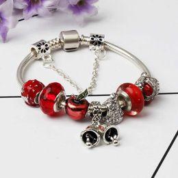 Pulsera de campana online-925 pulseras de plata del encanto de la campana de navidad colgante del brazalete del encanto del árbol de Navidad bolas de copo de nieve pulsera Diy joyería Logo Original