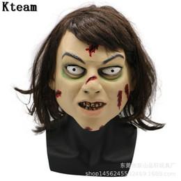 volle zombie-masken Rabatt Neue Halloween Erwachsene Maske Zombie Maske Latex Blutige Scary Extrem Ekelhafte Vollgesicht Kostüm Party Cosplay Prop mit haare