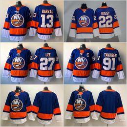 Wholesale New 27 - 13 Mathew Barzal Jersey 2017-2018 Season New York Islanders 27 Anders Lee 91 John Tavares 22 Mike Bossy Hockey Jerseys Cheap