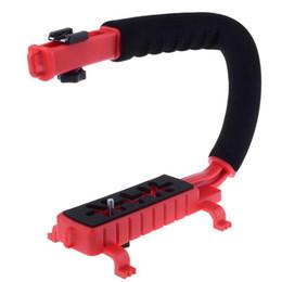 2019 dslr video grip MINIFOCUS C-Vídeo Em Forma de Câmera Handheld Handle Grip Stabilizer Suporte Sistema de Suporte para DSLR Camera Camcorder DV Luzes LED dslr video grip barato