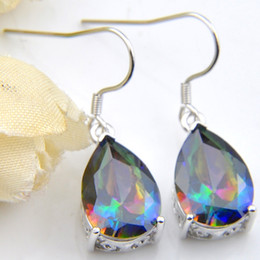 mystic topaz dangle earrings Coupons - 6 Pairs Luckyshine Superb Drop Shiny Rainbow Mystic Topaz Gems 925 Sterling Silver Plated Earrings Russia Canada Earrings Jewelry New