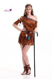 2019 trajes indianos americanos Traje de Halloween Senhoras Pocahontas Nativo Americano Indiano West Fancy Dress Sexy Halloween Partido Indiano Princesa Outfit CS01166 desconto trajes indianos americanos