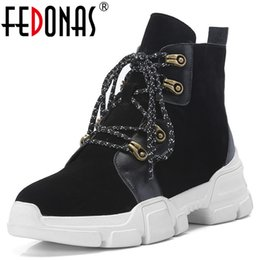 f29e93fa3087 FEDONAS New Women Ankle Boots Platforms Lace Up Short Martin Shoes Woman  Wedges High Heels Cow Suede Punk Motorcycle Boots