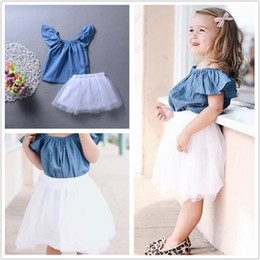 Wholesale Bohemian Denim Skirts - Kid Baby Girl Princess Tutu Dress Boutique Girls Clothes Denim Top+ Lace Skirt 2-pieces Outfit Baby Girl Clothes Lovely Kids Clothing 6M-5Y