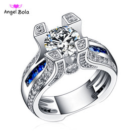 Wholesale White Gold Cushion Diamond Ring - Hot -sale Luxury Fashion Halo Style Cushion Cut Wholesale Artificial Diamond Ring Women 925 Sterling Silver Fine Jewelry
