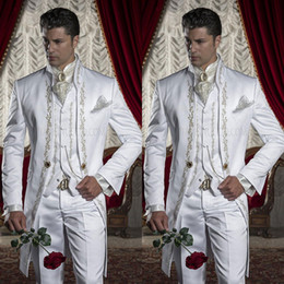 Wholesale white groomsmen embroidery suits - Embroidery Groom Tuxedos Men's Suits White Groomsman One Button Formal Wedding Suit Including (Jacket+Pants+Vest) Three Pieces Party Clothin