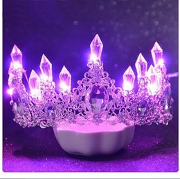 Wholesale crystal factory outlet - Runway bridal tiara crown luxury atmospheric glow wedding jewelry glow lights wedding accessories factory outlet