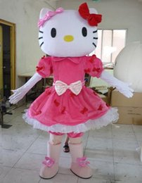 Wholesale mascot kitty - 2018 New Miss Hello Kitty Adult Size Hello Kitty Mascot Costume High Auality Adult free shipping