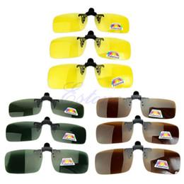 clip polarizado de los vidrios de conducción Rebajas Nuevo Polarized Day Night Vision Clip-on Lentes abatibles Gafas de sol Driving Glasses C45 caliente