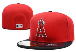 angel hats Promo Codes - 2018 New Men's Angels on field fitted hat flat Brim embroiered A letter team logo fans baseball Hats size angels full closed Chapeu