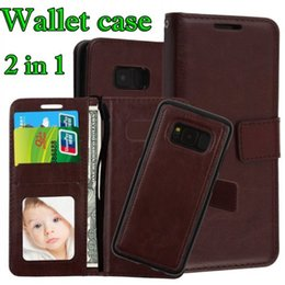 Wholesale Galaxy Note Detachable Case - 2 in 1 Magnetic Detachable Removable Wallet leather Case For Samsung Galaxy S9 S8 Plus Note 8 Cards Holder Cover for iphone X 8 7 plus