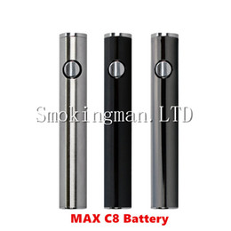 Wholesale Usb Charging Voltage - DHL Max C8 Preheating VV Battery 650mAh Adjustable Voltage Preheat Battery Bottom USB Charging Thick Oil Vaporizer Pen Vape 510 Thread Mod