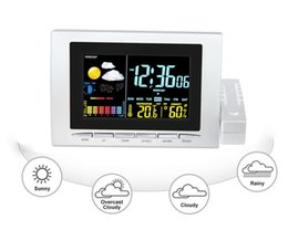 Wholesale weather station clock led - Multifunctional digital alarm clock Week with temperature humidity Meter Weather Forecast Moon phase color LED wireless weather Station H134