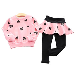 Wholesale dance wear for kids - Girls Clothing Set Letter Sweatshirt + Pantskirt 2pcs set For Girls Sport Suit Children's Dance Wear Kids Tracksuit