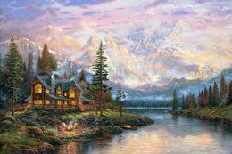 Wholesale Thomas Kinkade Giclee Prints - Thomas Kinkade Landscape Oil Paintings Art Reproduction High Quality Giclee Print On Canvas Lakeside hut Decor art Home Decoration DHtms17