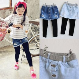 girl clothes leggings Promo Codes - Girls denim Skirt Pants Winter New Spring Girls thicken Leggings with Skirt Girls Clothes Children Kids Trousers Leggings Pants for Girl