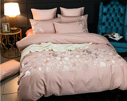 Canada 60S satin américain, pur coton, coton à fibres longues, style européen, broderie satin, draps, couettes, ensembles de literie en coton, 4 pièces Offre