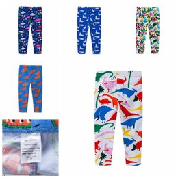 Wholesale wholesale casual clothing for women - Kids Skinny Leggings Cotton Watermelon Printed Dinosaur Autumn Flower Clothing for Girls Full Length Pants Slim Pencil Trousers MMA333