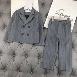 Wholesale quality outerwear - 2018 boys spring autumn suit Clothes stripe handsome Kids Clothing Set outerwear+pants high quality