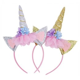 crown for infant Promo Codes - INS Unicorn Horn Hairband Hairwear Headwear Kids Infants DIY Paillette sequined Hair crowns Bonus Headbands for girls Halloween Xmas party