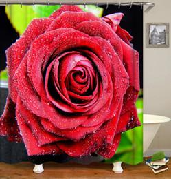 Canada Personnalisé Étanche Résistant À La Moisissure Résistant Créatif Noir Blanc Rouge Fleurs Roses Impression Numérique Salle De Bains Douche Rideau avec Crochets Offre