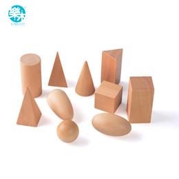Wholesale Wood Shapes Geometric - Montessori Education Wooden Toys Geometric Shapes Solids Geometry Blocks Set Learning & Education Cognitive Math Toys 10pcs set