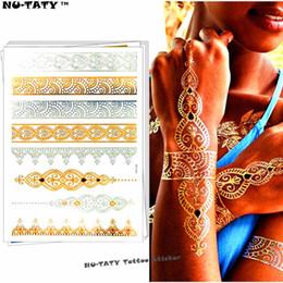 Wholesale Tattoos Lace Designs - Nu-TATY 24 style Temporary Tattoo Body Art, Lace Desgin Gold Designs, Flash Tattoo Sticker Keep 3-5 days Waterproof 21*15cm