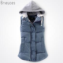 maglia jean blu lunga Sconti Brieuces autunno e inverno gilet da donna 2017 gilet in cotone con cappuccio invernale in cotone patchwork femminile reversibile da donna