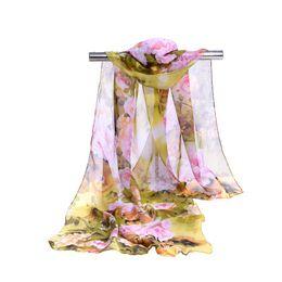 Écharpes de pivoine en Ligne-Mode Femmes Fleur De Pivoine Écharpe En Mousseline De Soie Coloré Moyen Et Long Style Écharpes Décoration Pour Holiday Party Cadeau 4 3dr ff