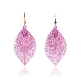 Wholesale Rainbow Dangle Earrings - Fashion Luxury Boho Double Color Leaf Dangle Earrings Big Pink Rainbow Leaves Long Tassels Drop Earring For Women Jewelry