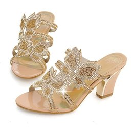 Wholesale cheap silver wedding heels - 2018 New Arrival Sparkly Wedding Shoes 8cm Thick heel Evening Prom Party Shoes for Women Crystal High-heeled Pumps Slides Cheap