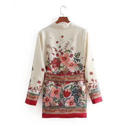 jaquetas senhoras floridas Desconto Flores Mulheres Vintage Retro Curto Floral Impressão Básica Terno Jaqueta Senhoras Cintura Bowknot Casual Outerwear Business Casual Fino casaco