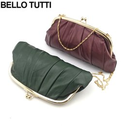 Wholesale Wholesale Clutch Frames - BELLO TUTTI Genuine Leather Chain Small Shoulder Bags Metal Frame Bag Natural Sheepskin Handbag For Girls Coin Purse Clutch Bag