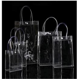 Bolsas de regalo claro asas online-Envío gratis 13 * 15 * 7 CM Bolsas transparentes pequeñas, bolsa de plástico de regalo transparente Mini bolsas de PVC manejar paquete de bolsa de cosméticos 10 unids / lote
