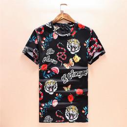 Wholesale luxury clothing - T Shirts 2018 New Designer Mens Clothing Luxury Shirt Summer Fashion Tide Streetwear Tiger Snake Rose Print Short Sleeve Size M-3XL
