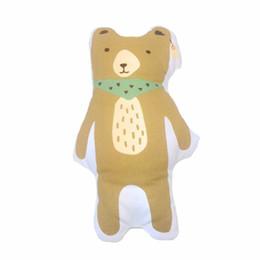 Baumwollbär füllung online-Neue Braunbär Kissen Leinwand Kissen Baby Room Decor Kind Gefüllte Weicher Baumwolle Kinder Bettwäsche Heißer Kinder Geschenk 1 stücke